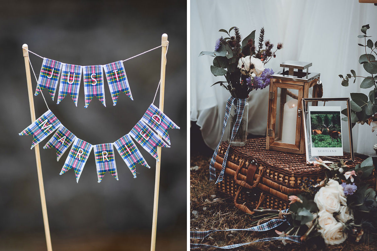 tartan Just Married wedding cake bunting and wedding lantern and wicker basket arrangement with flowers