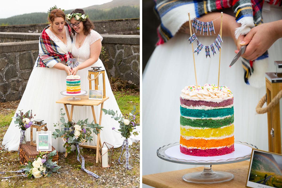two brides cut rainbow wedding cake by Cake 32