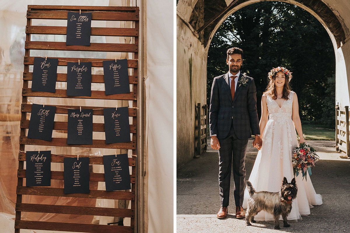 black and gold script table plan signage hanging on wooden frame and bride and groom with Scottie terrier outside Balinakill Country House