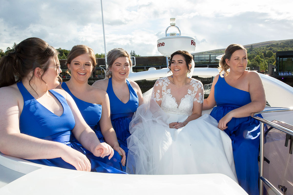 bride and four bridesmaids on Beau Jangles boat on Loch Lomond