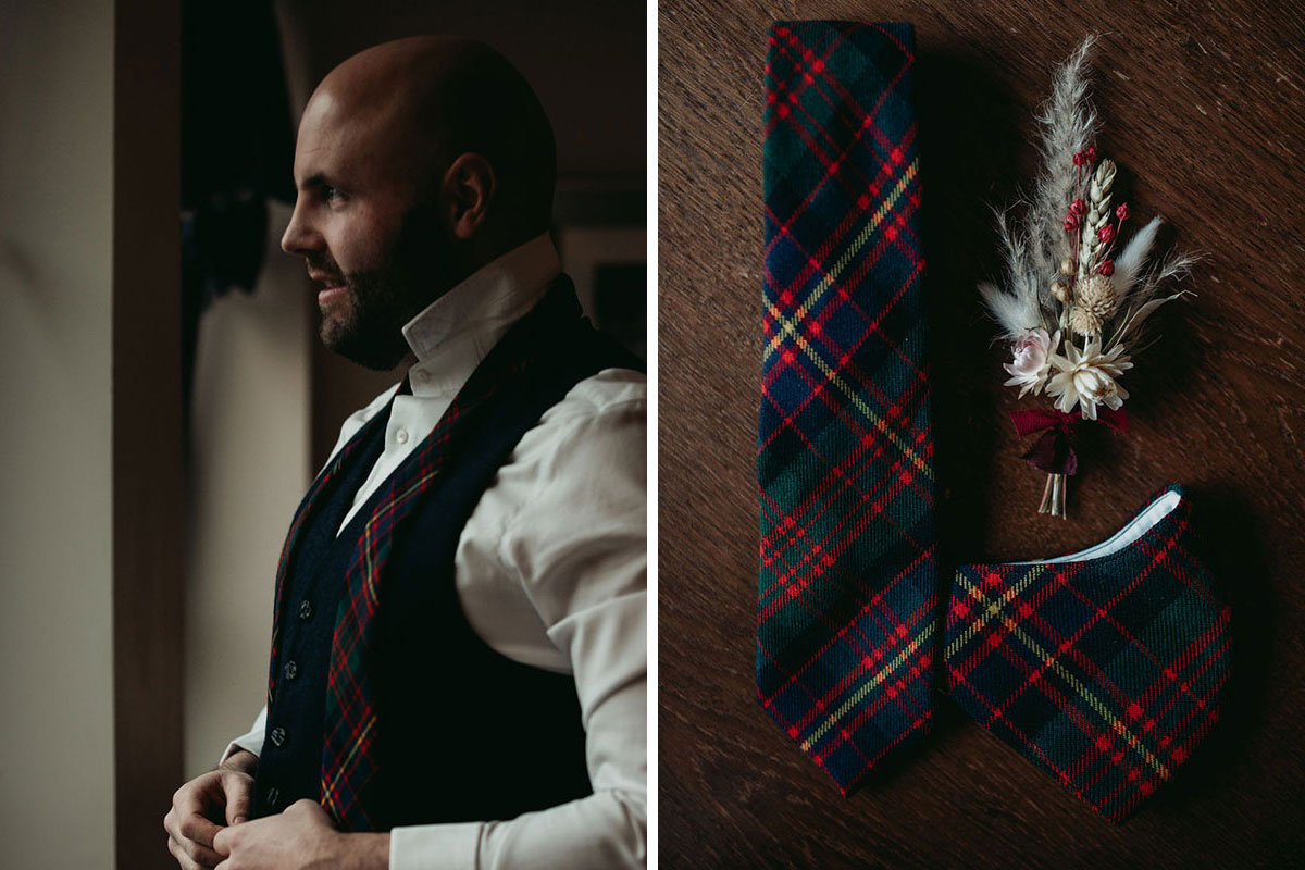groom fastening waistcoat and flat lay of wedding tie, tartan face mask and buttonhole