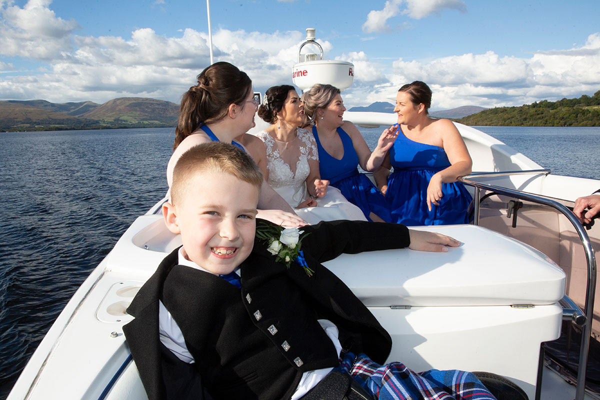 bride, son and four bridesmaids on Beau Jangles boat on Loch Lomond
