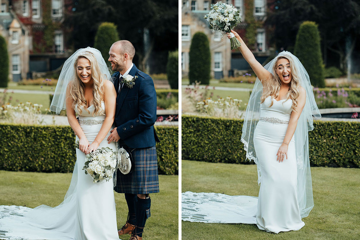 bride and groom laughing in garden of Carlowrie Castle and bride laughing holding bouquet in air