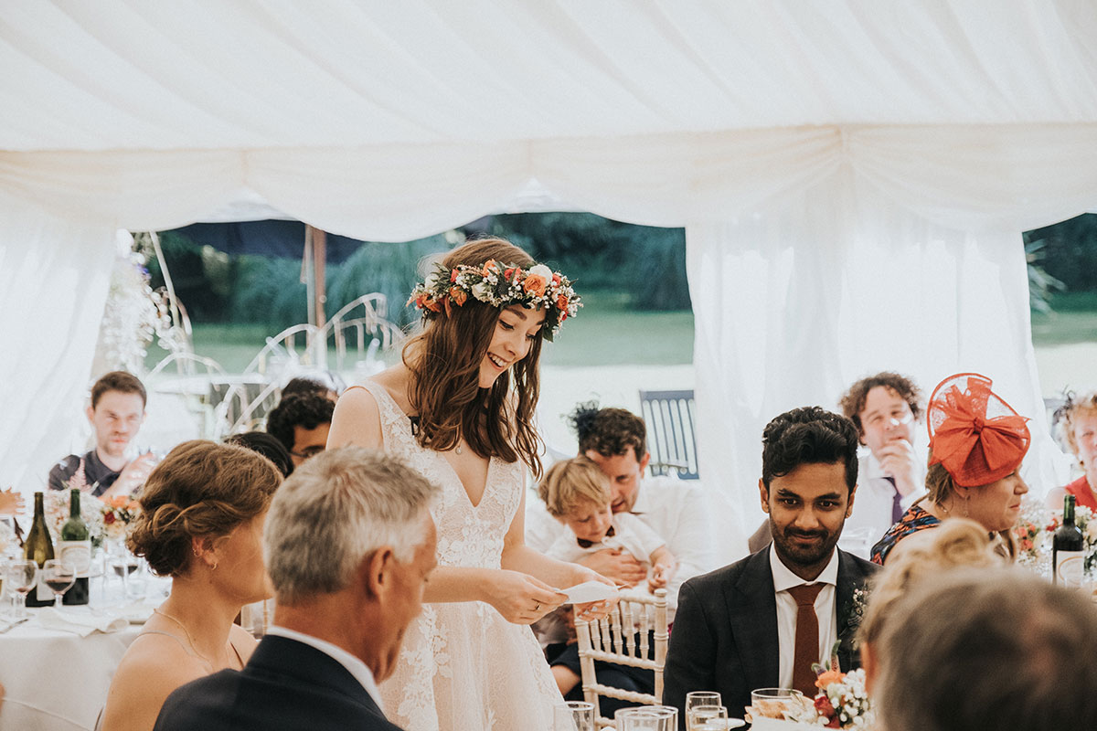 bride making wedding speech in marquee at Balinakill Country House
