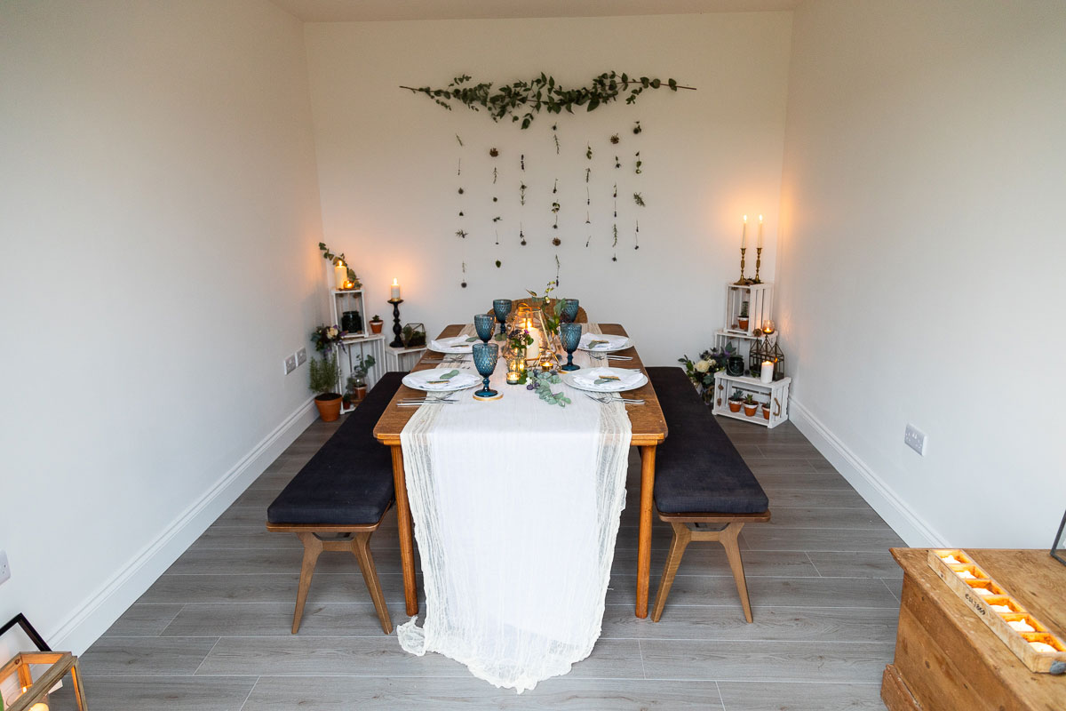 wedding dinner table set up for five people at private household in Perthshire