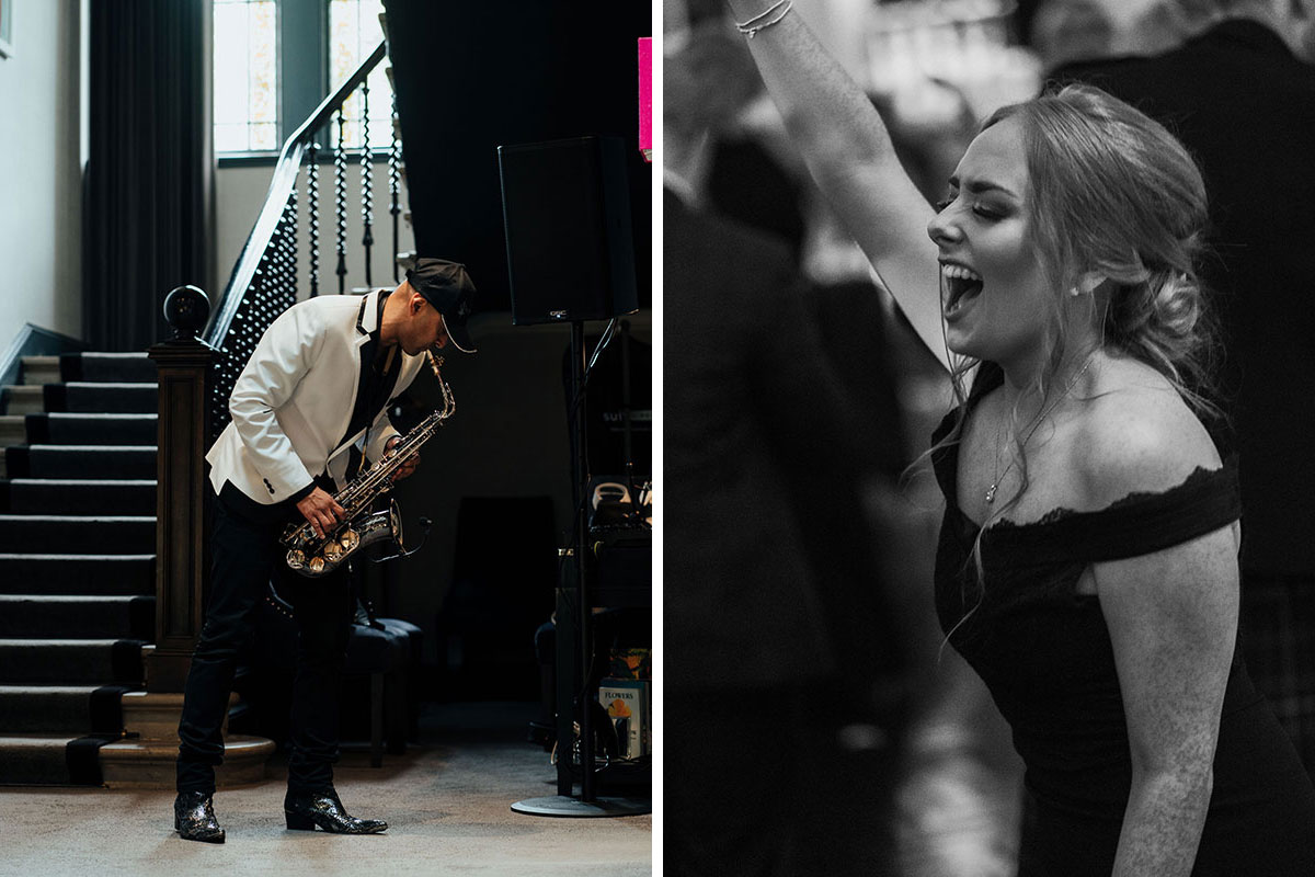 Saxingh wedding saxophonist performs at Carlowrie Castle while bridesmaid sings along with hand in air