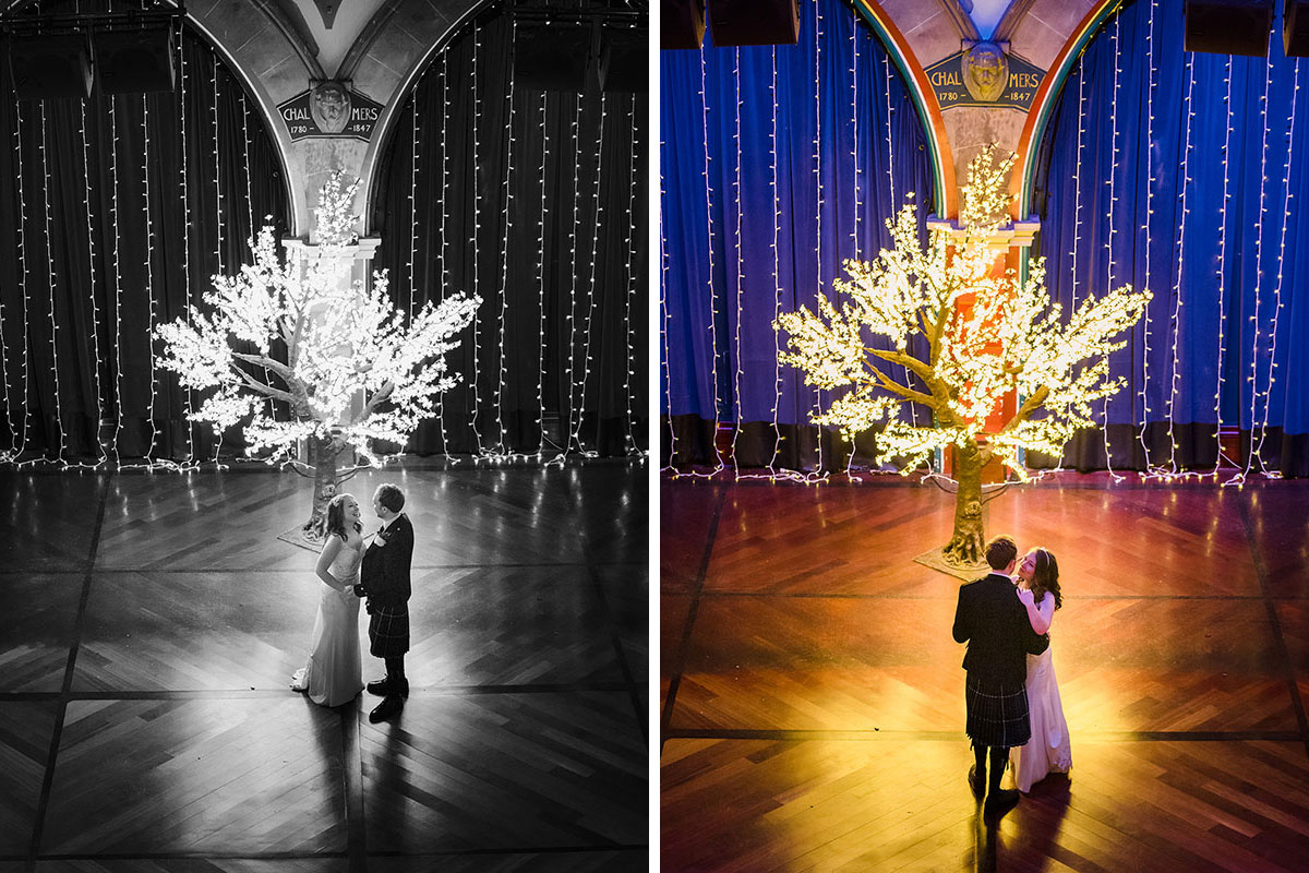 bride and groom having first dance at Oran Mor