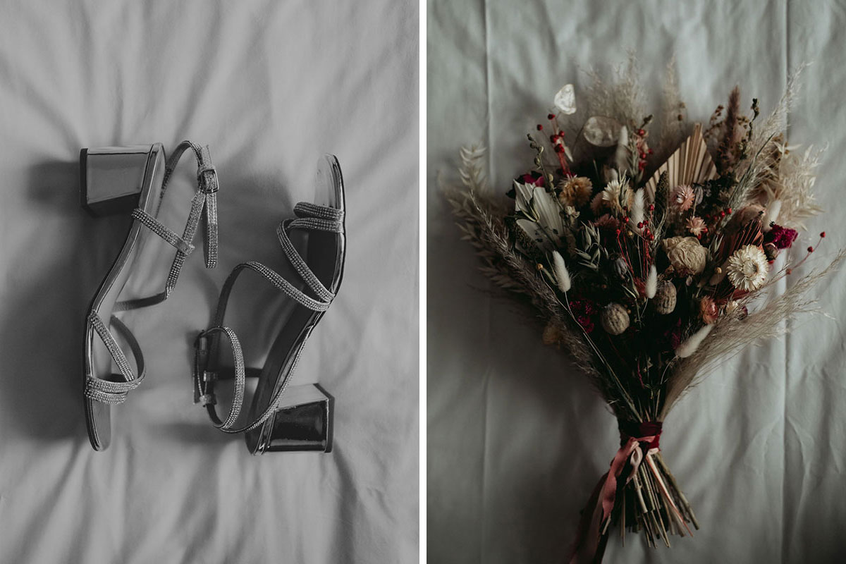 wedding sandals and dried flower bouquet by Bothy Blooms