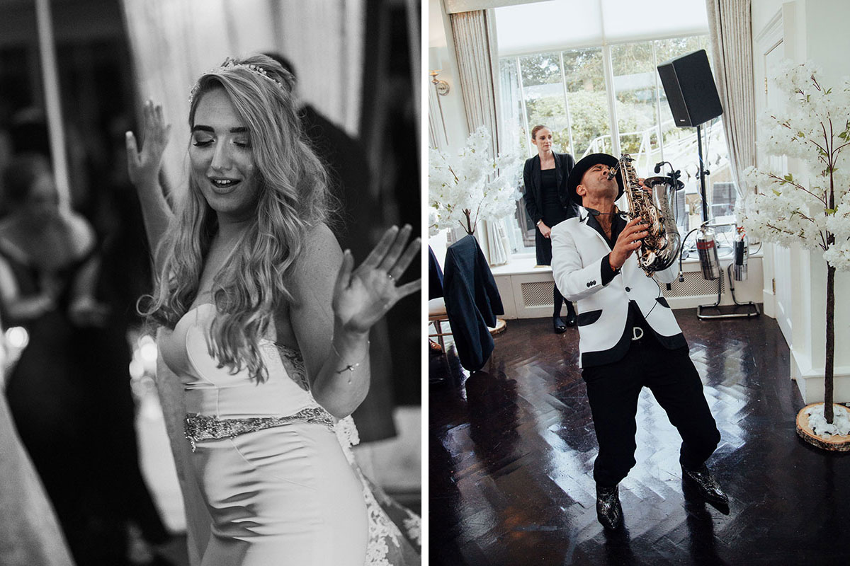 black and white image of bride dancing and Saxingh wedding saxophonist plays at Carlowrie Castle