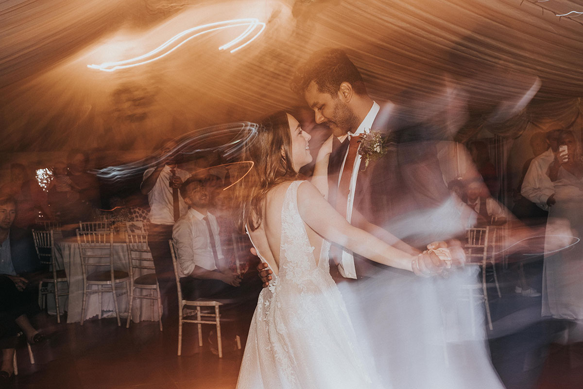 bride and groom dancing at wedding at Balinakill Country House