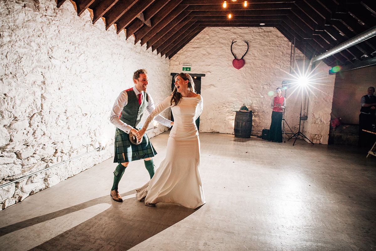 bride and groom doing a first dance at Cardney Steading