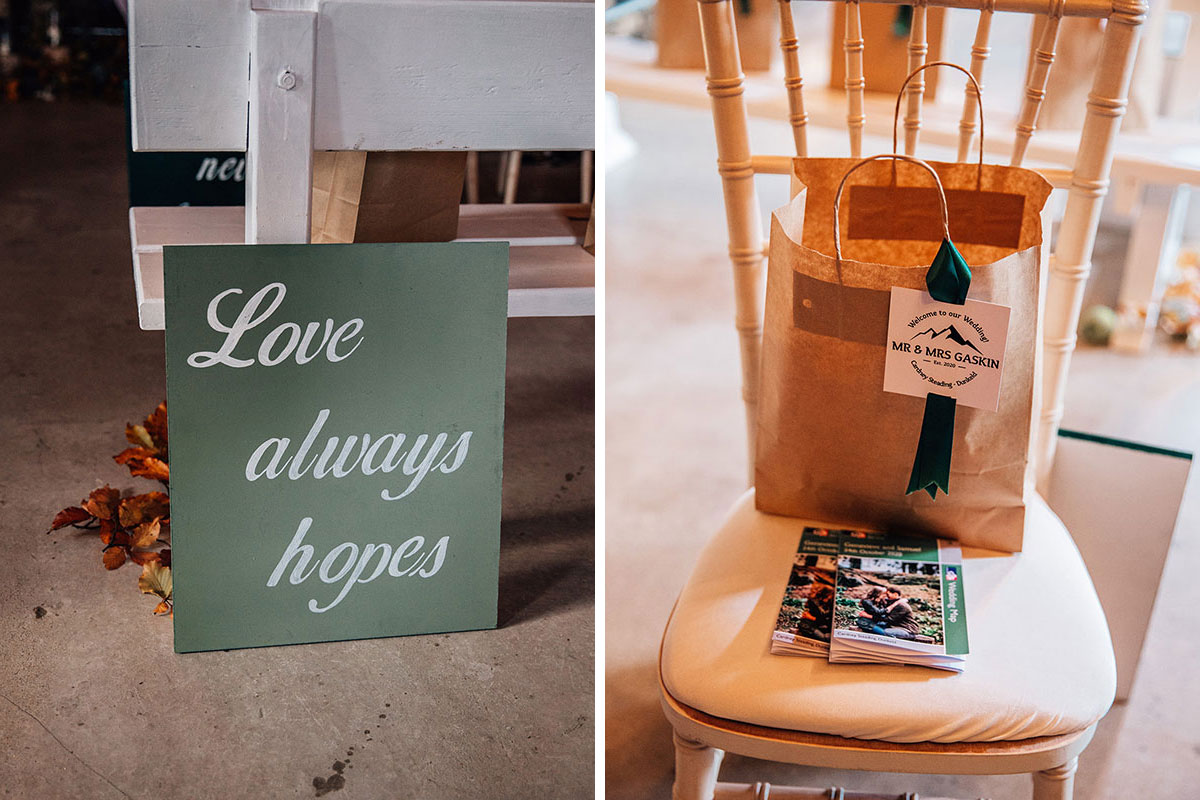 Green Love Always Hopes wedding placard and brown paper bag filled with wedding gifts on chiavari chair