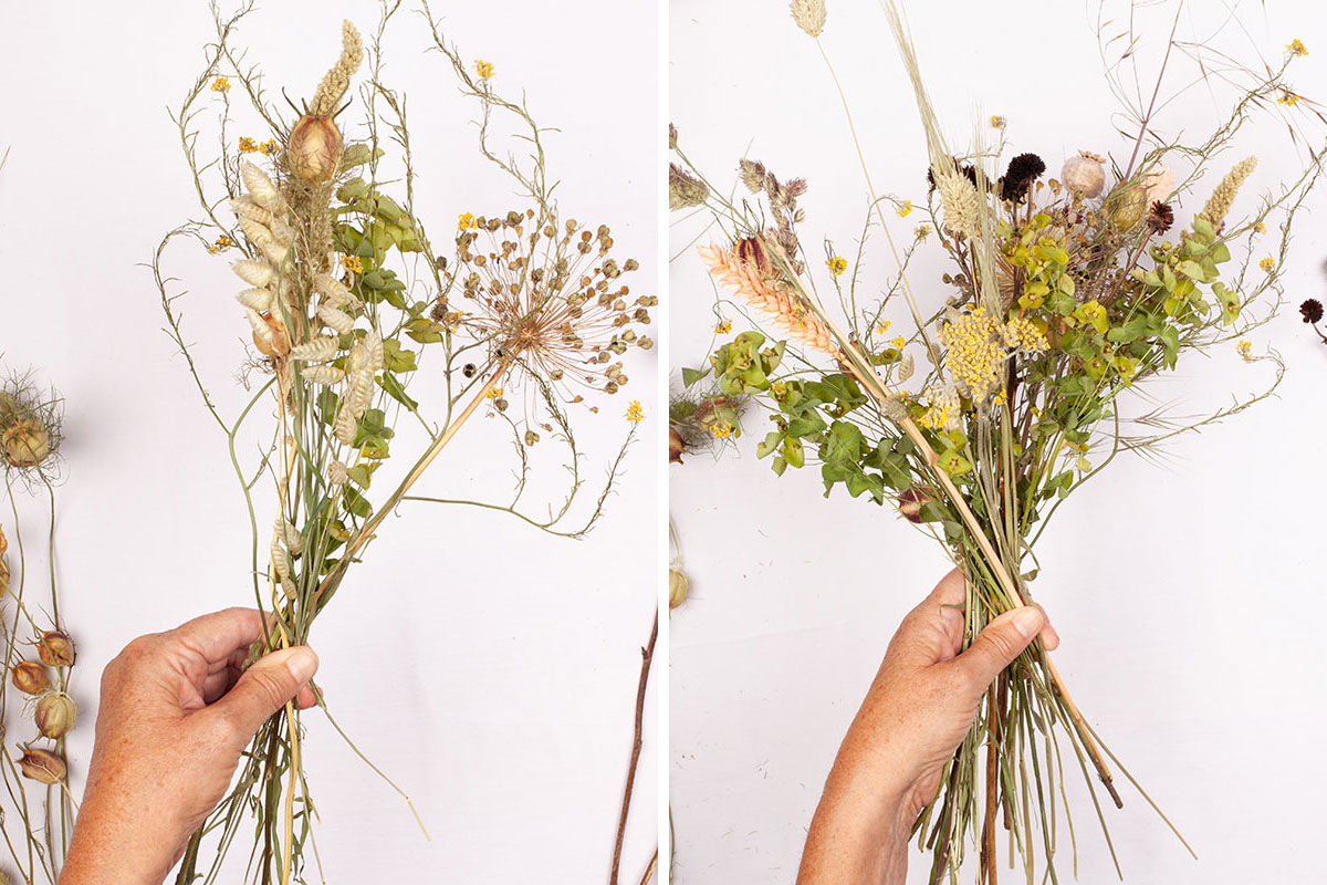 Hands gathering dried flower stems into DIY dried wedding bouquet