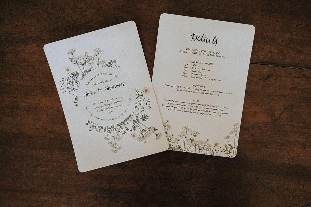 cow parsley and daisy wedding invite