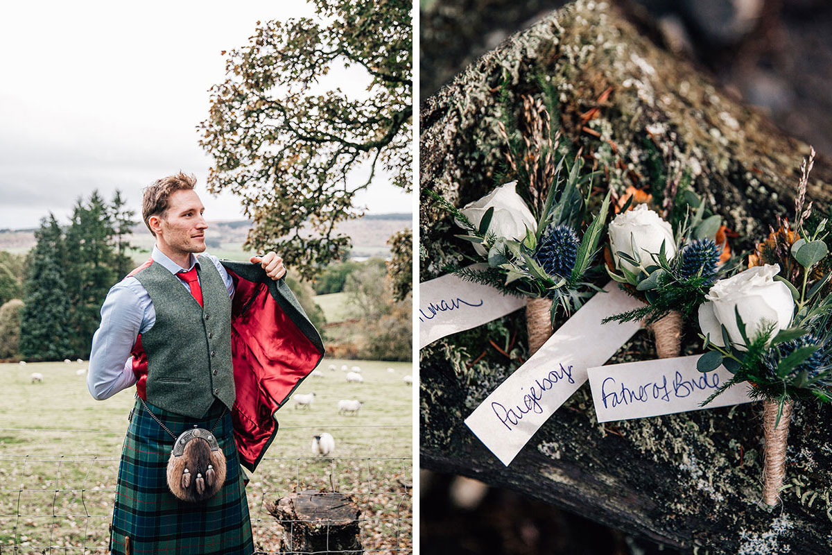groom wearing green tartan kilt and tweed jacket with red silk lining and three rose and thistle buttonholes with handwritten tags
