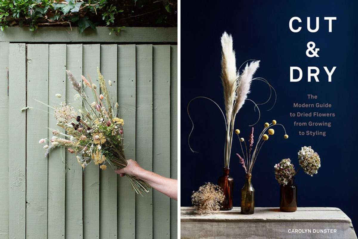 Dried flower bouquet against green wooden slatted fence and cover sleeve of Cut and Dry book by Carolyn Dunster