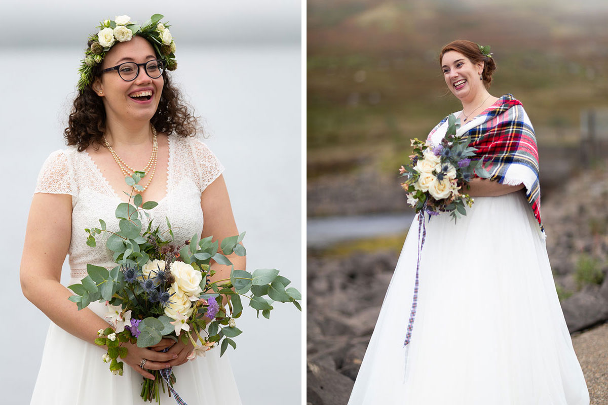 two brides laughing as they see each other for the first time during lesbian wedding ceremony outdoors at Loch Turret Reservoir