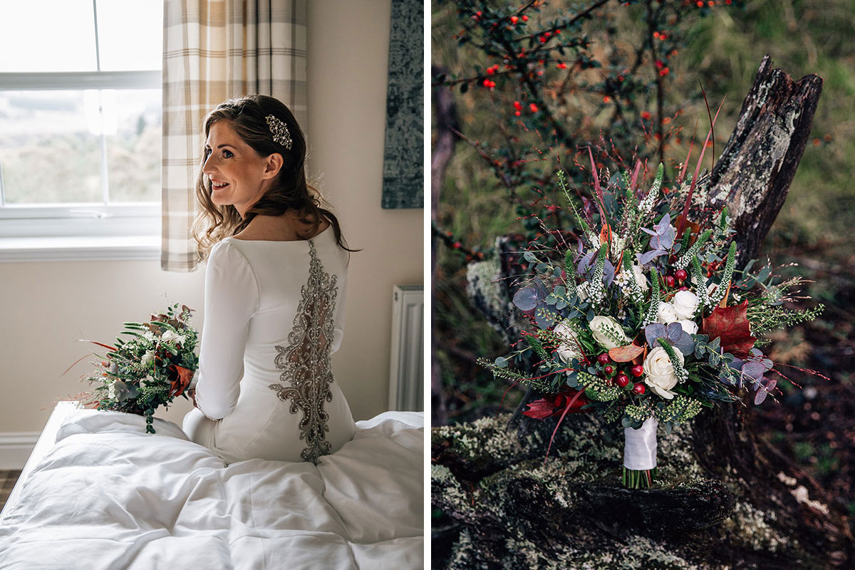 bride sitting on bed with back to camera showing ornate silver embroidery detail on back of wedding gown and purple and red autumn bridal bouquet by Something Special Blairgowrie florist