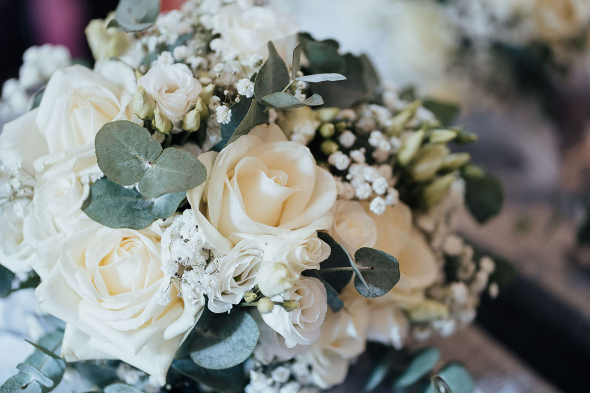white rose and gypsophila wedding bouquet by Quate and Co