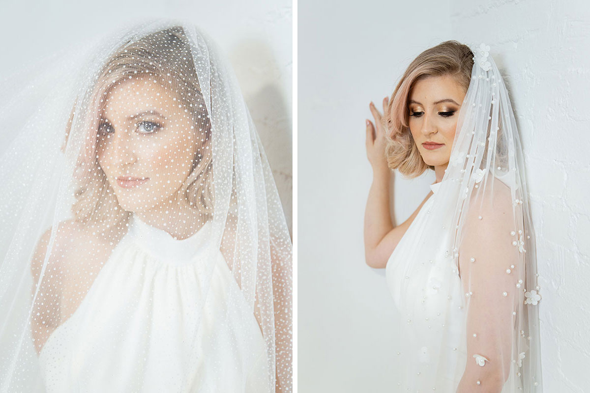 Blond female model wearing two different veils by Dillon King
