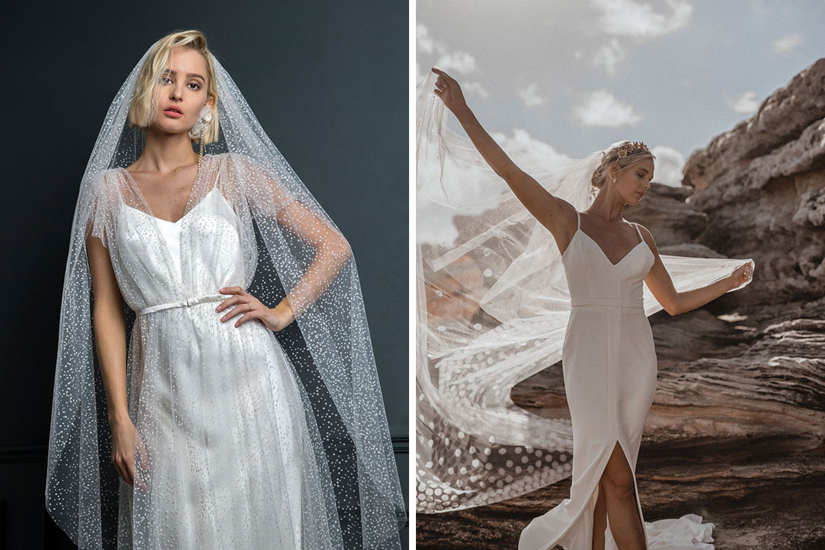Models wearing veils by Halfpenny London and Karen Willis Holmes