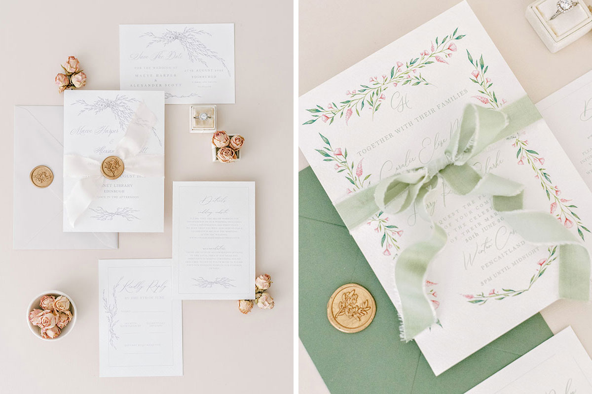 Ruby & Bloom Paper Co pale grey and green and pink floral wedding invitations