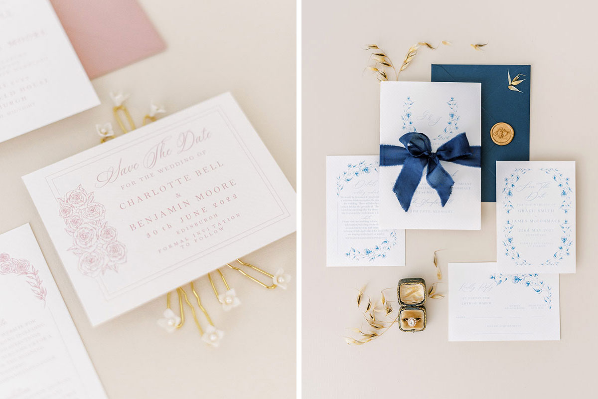 Ruby & Bloom Paper Co pink and navy floral wedding invitations