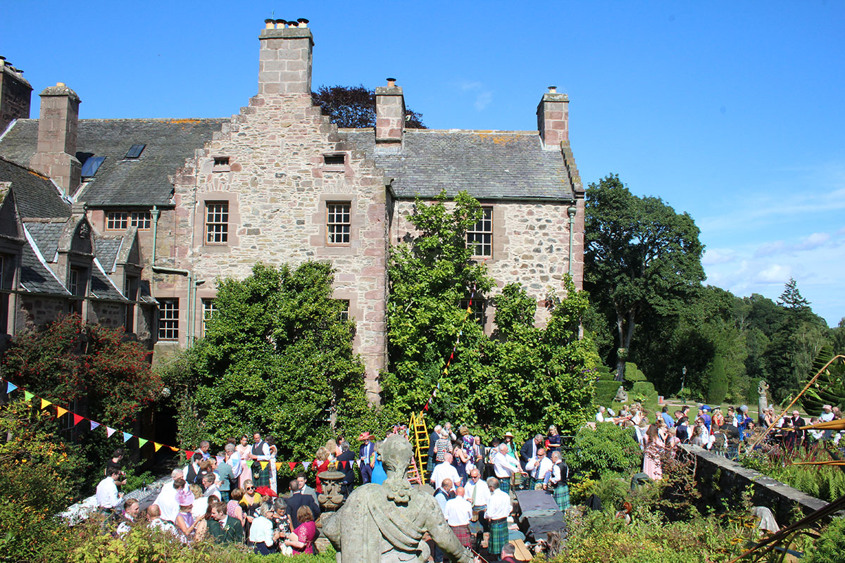 Wedding party in the grounds of Fingask Castle in Perthshire