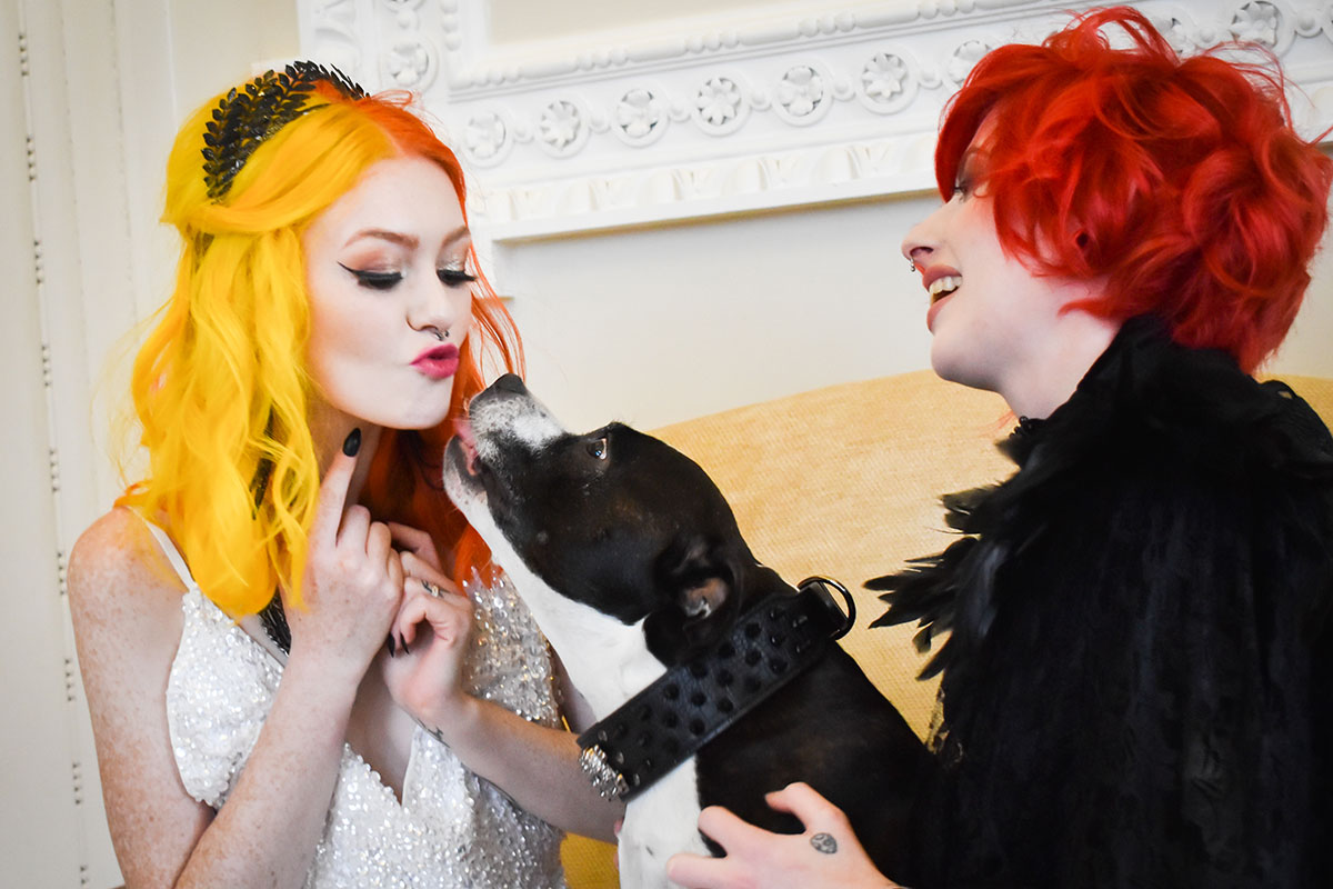 two brides with brightly coloured hair with dog on wedding day at Chatelherault