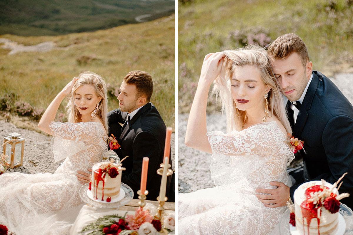 bride and groom having wild picnic in Glen Coe