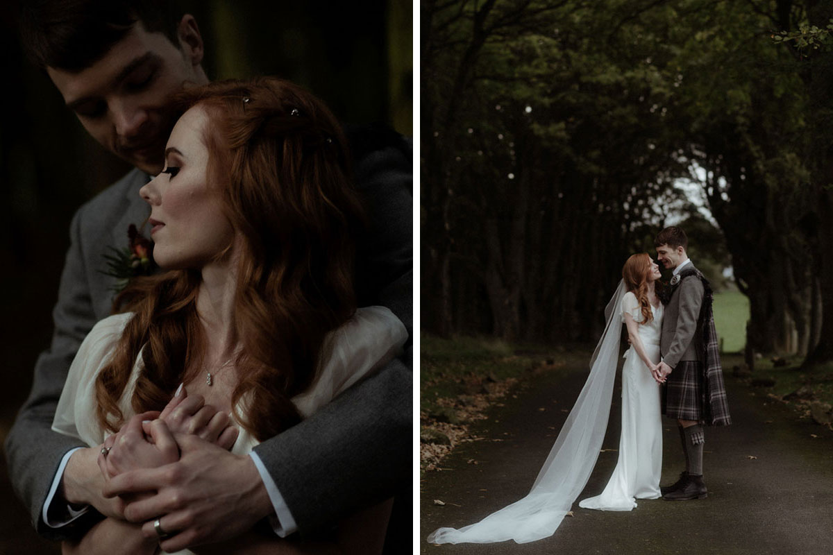 portrait image of groom hugging bride from behind and holding hands in grounds of Borthwick Castle