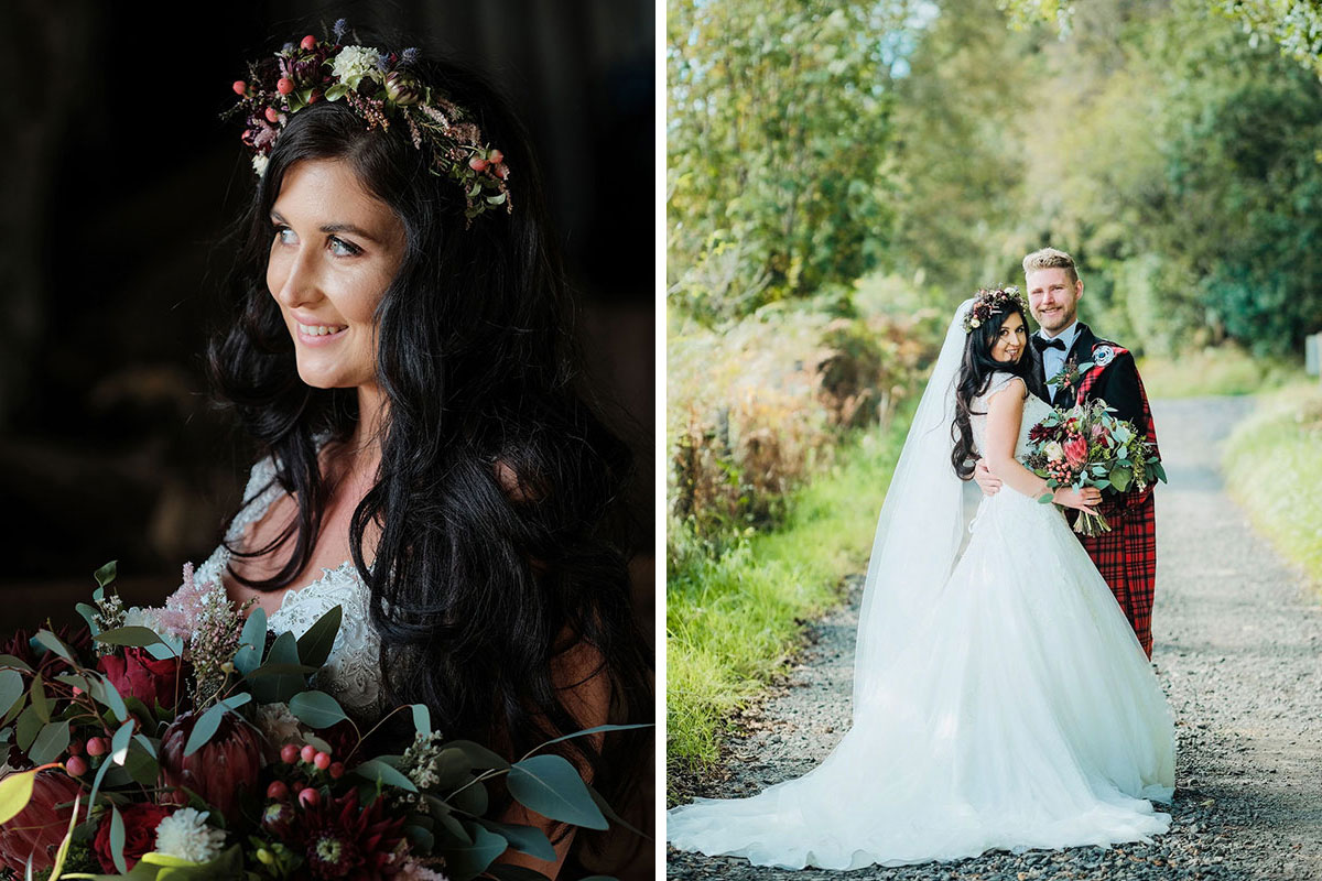bride smiling and looking off camera carrying bouquet and wearing flower crown and bride and groom posing in middle of rural Renfrewshire road surrounded by trees and greenery