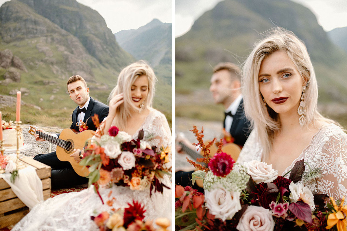 bride wearing lace wedding dress and carrying bouquet by Bothy Blooms