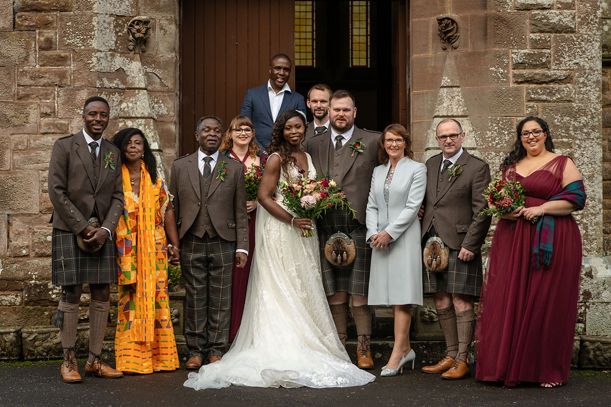 family wedding group shot at Drumtochty Castle