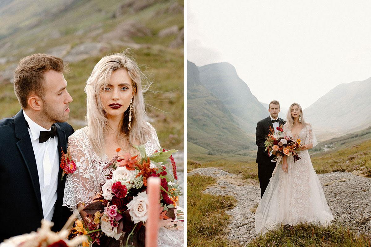 bride and groom in Glen Coe