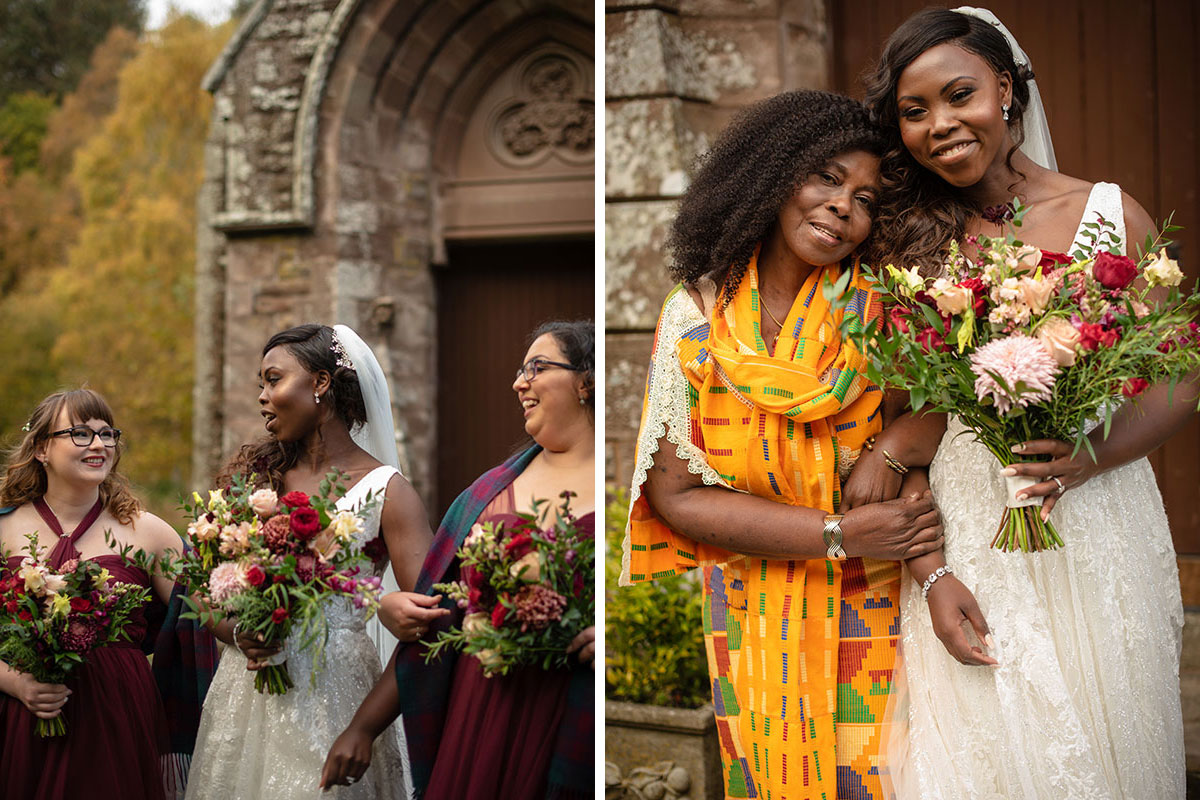 bride laughing with two bridesmaids wearing burgundy dresses outside St Palladius Church