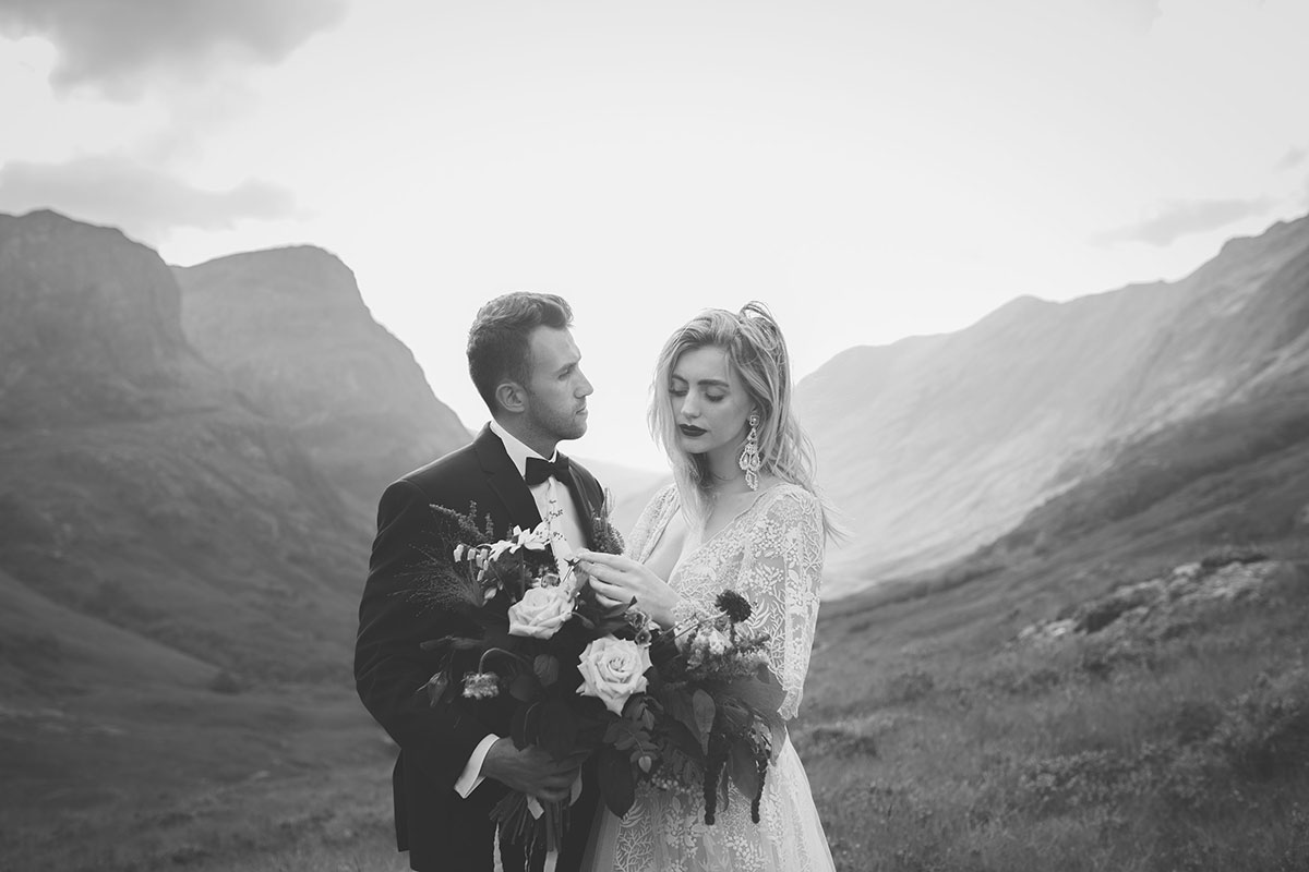black and white image of bride and groom in Glen Coe