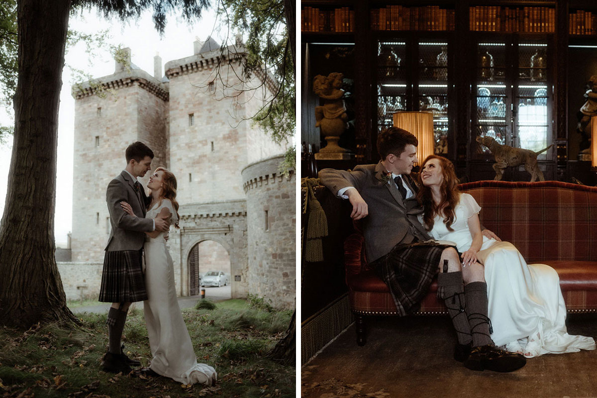 bride and groom standing looking into each other's eyes with Borthwick Castle in background and sitting on a sofa in the castle