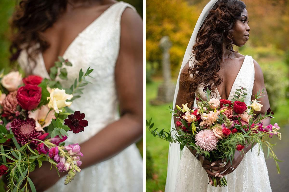 bride wearing wedding dress by Avorio Bridal holding bouquet by Kim Dalglish