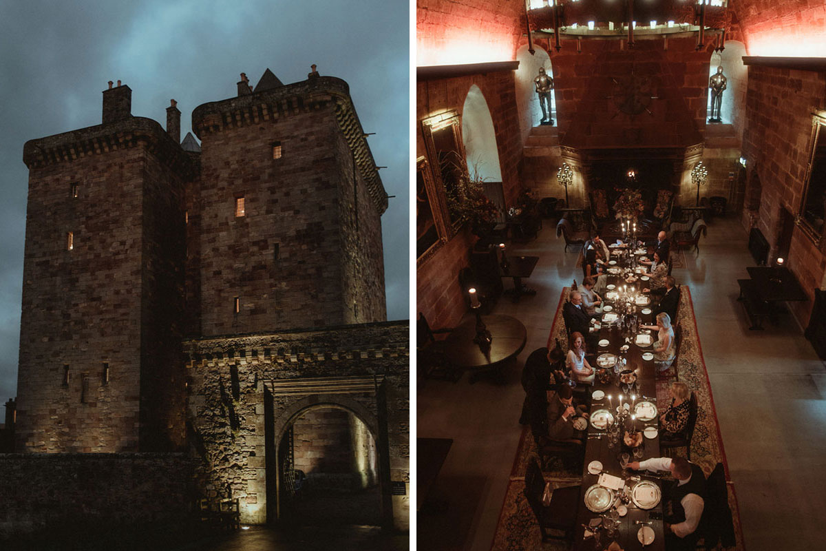 exterior of Borthwick Castle lit up at night and aerial shot of the hall at Borthwick Castle set for a wedding dinner with guests