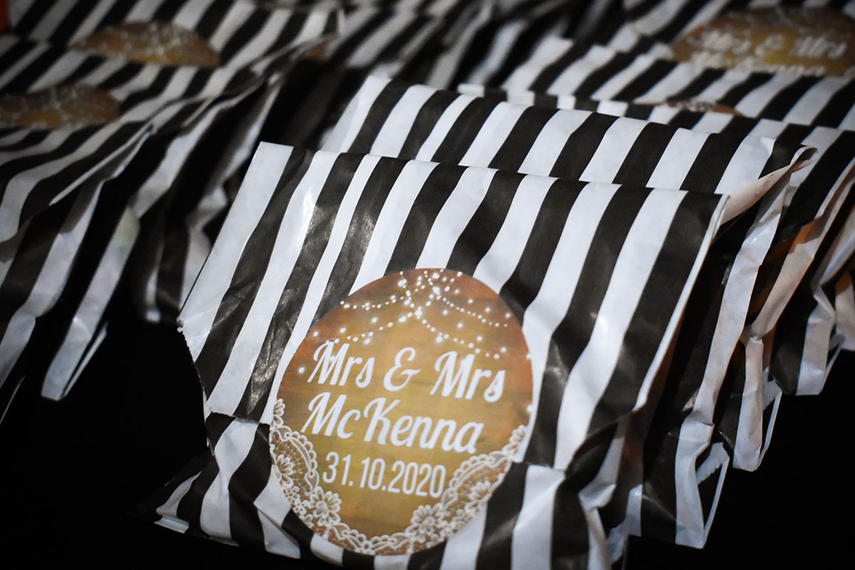 Mrs and Mrs personalised black and white striped sweet bags