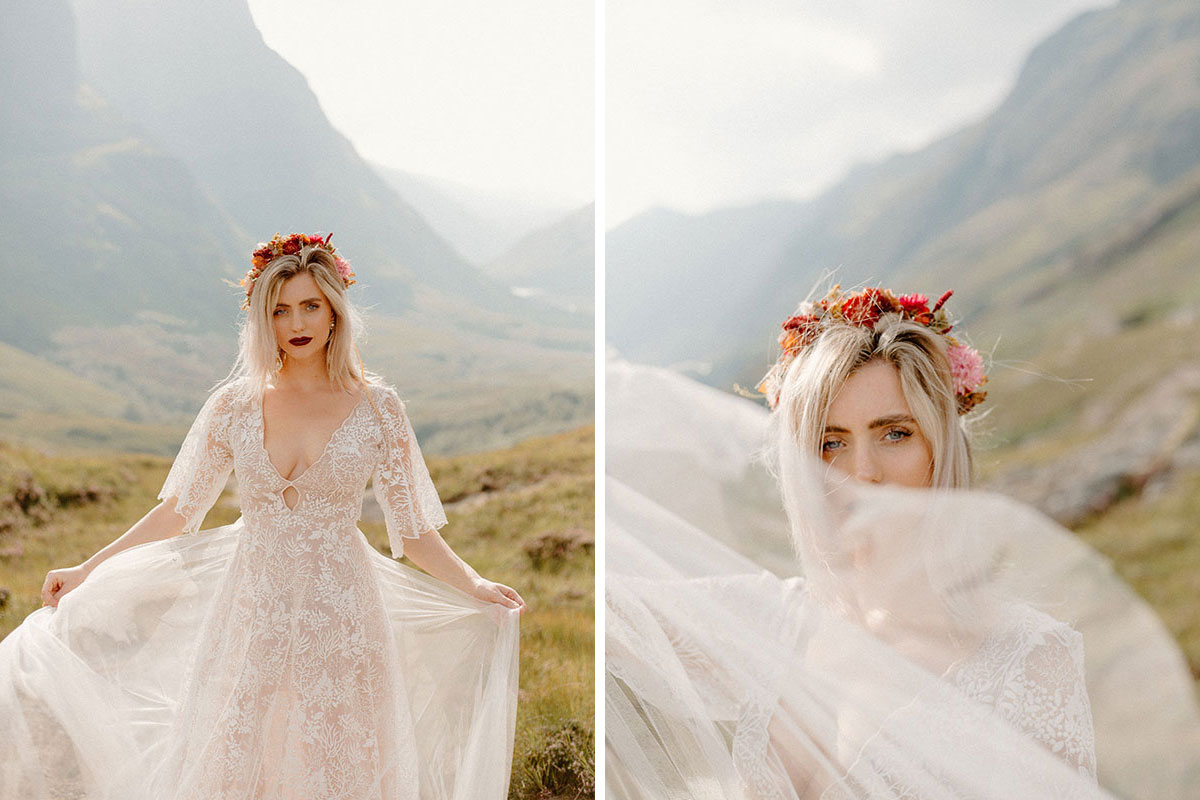 bride in Glen Coe wearing dress by e&W Couture and flower crown by Bothy Blooms