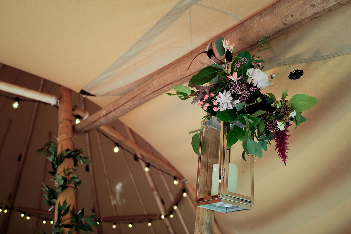 hanging candle lantern with autumnal flowers by Posies and Pots