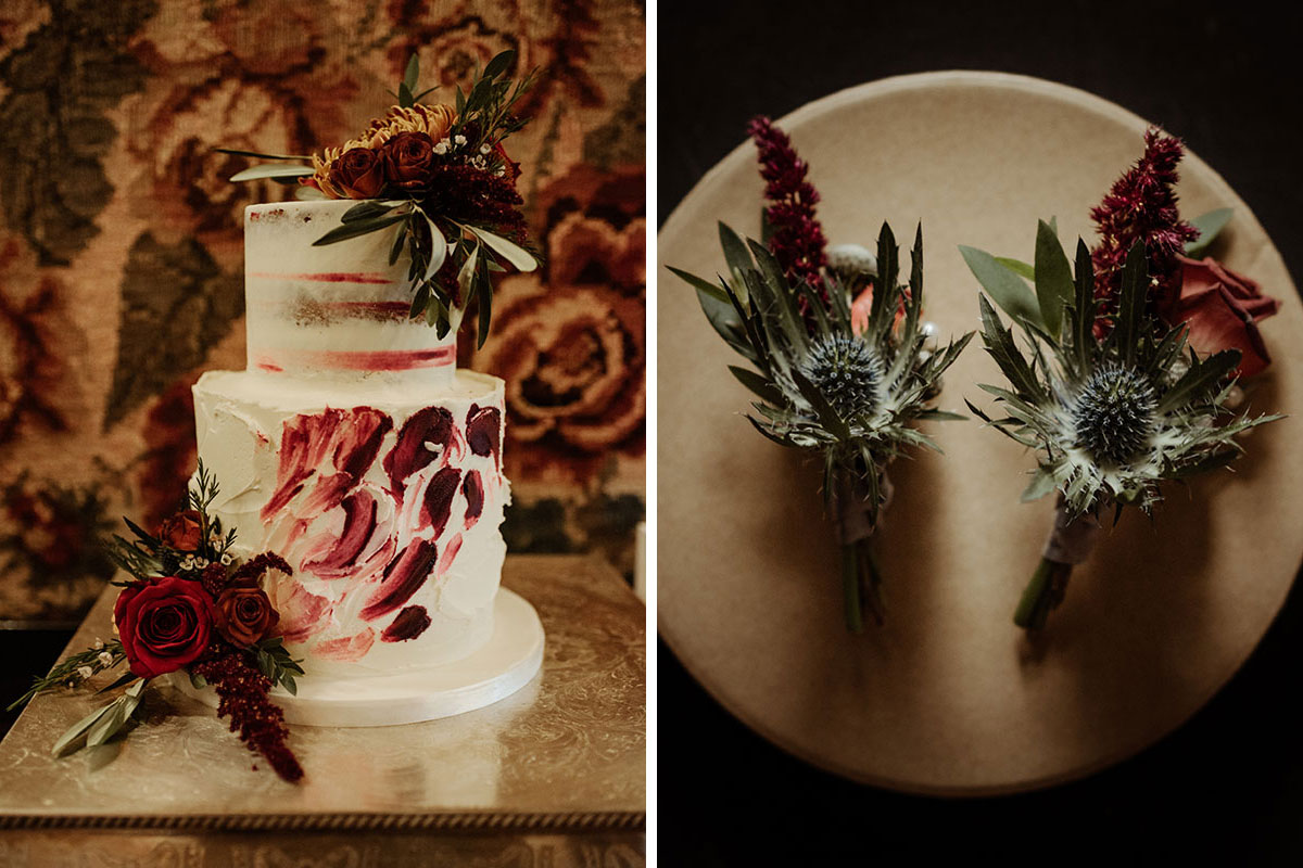 red and ivory buttercream wedding cake by Liggy's Cake Company and autumnal thistle buttonholes on cream plate by Narcissus Wedding Flowers