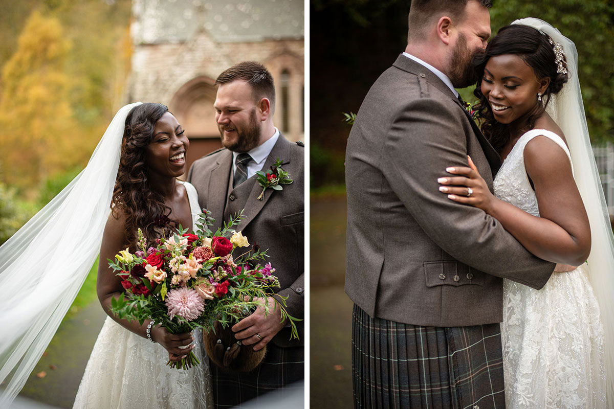 two intimate bride and groom portraits at Drumtochty Castle by Karolina Kotkiewicz Photography