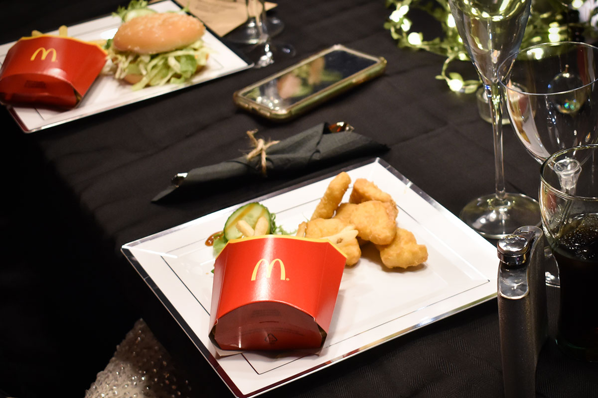 McDonalds Chicken McNuggets wedding dinner on white and s