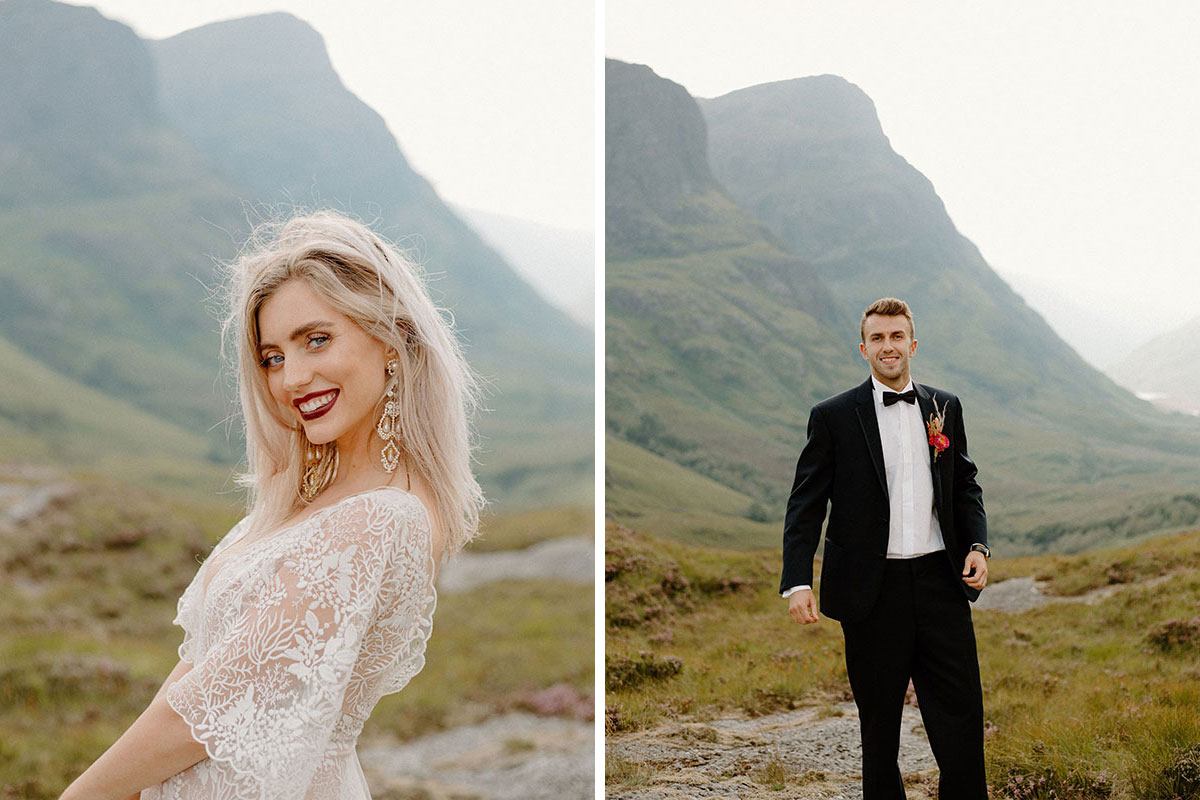 bride smiing on mountain in Glen Coe and groom posing on mountain wearing Bowdens black suit
