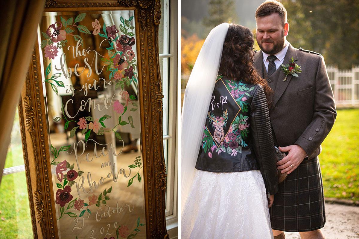 handpainted wedding mirror and bride wearing handpainted leather jacket with groom