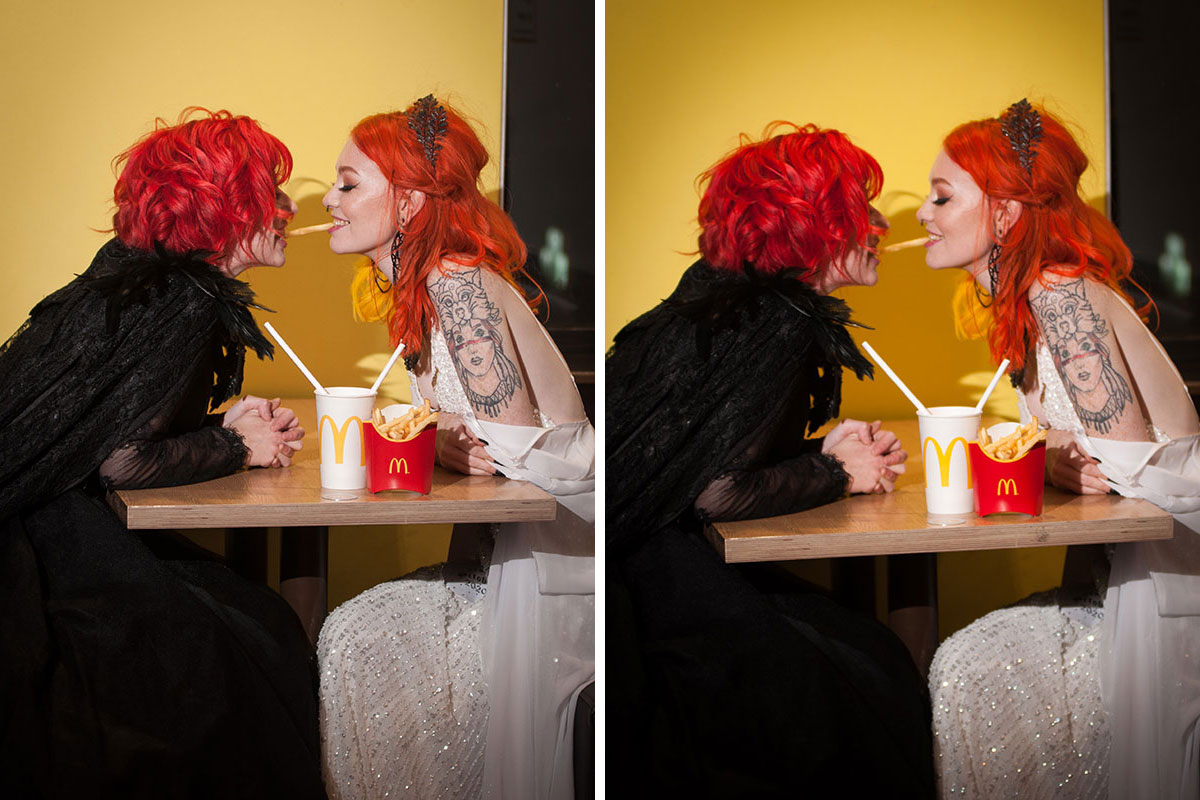 two brides with red and orange hair eating the same McDonalds french fry on their wedding day (just like the spaghetti in Lady and the Tramp)