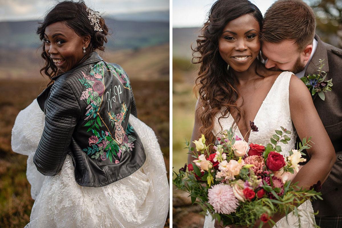 bride looking over shoulder wearing black painted leather jacket and groom kissing bride on shoulder